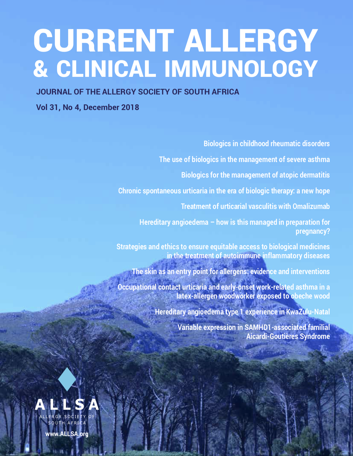 Current Allergy and Clinical Immunology Journal 2018 – December
